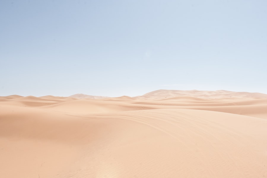 A vast, sandy desert stretches under an expansive sky.