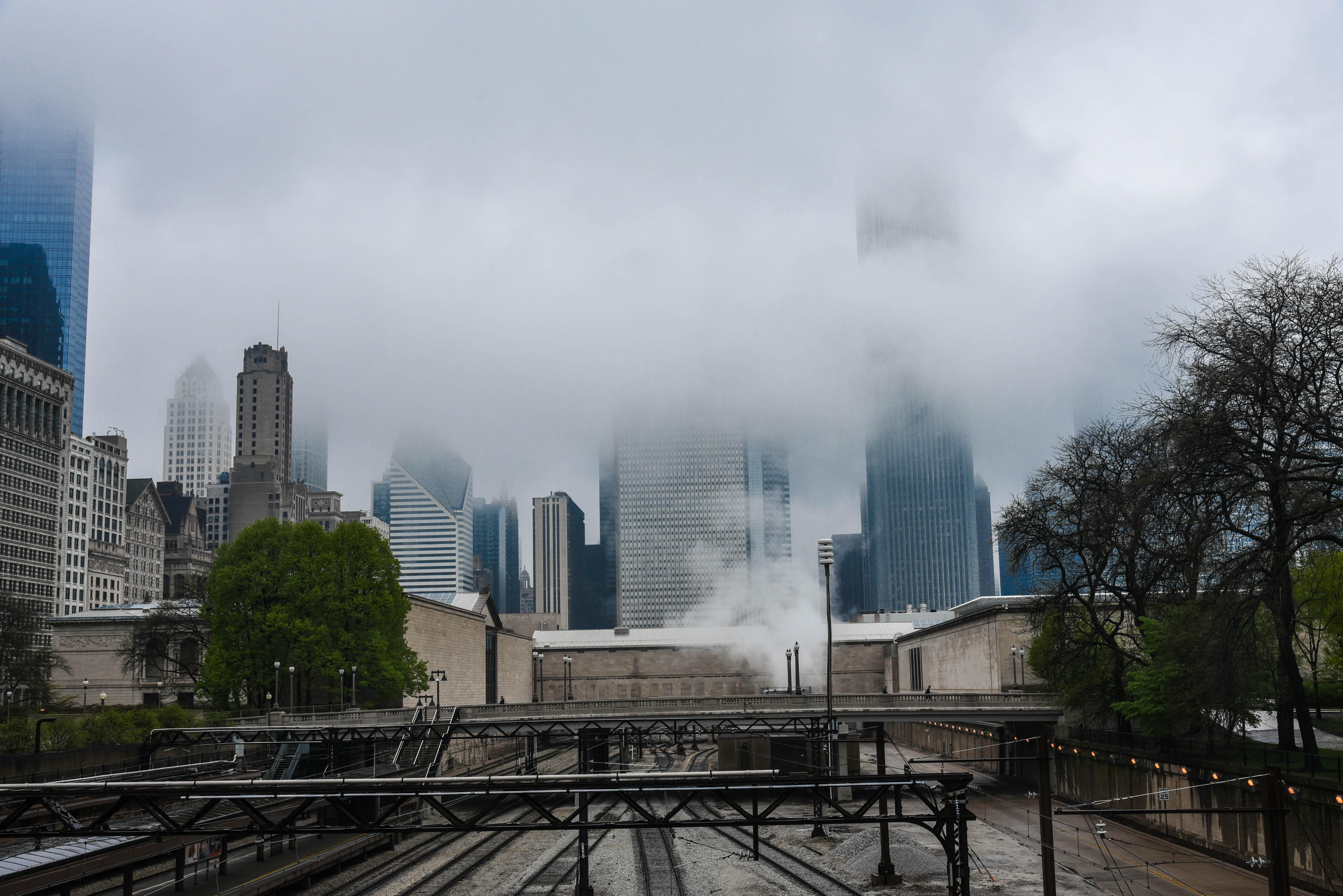 building in mist
