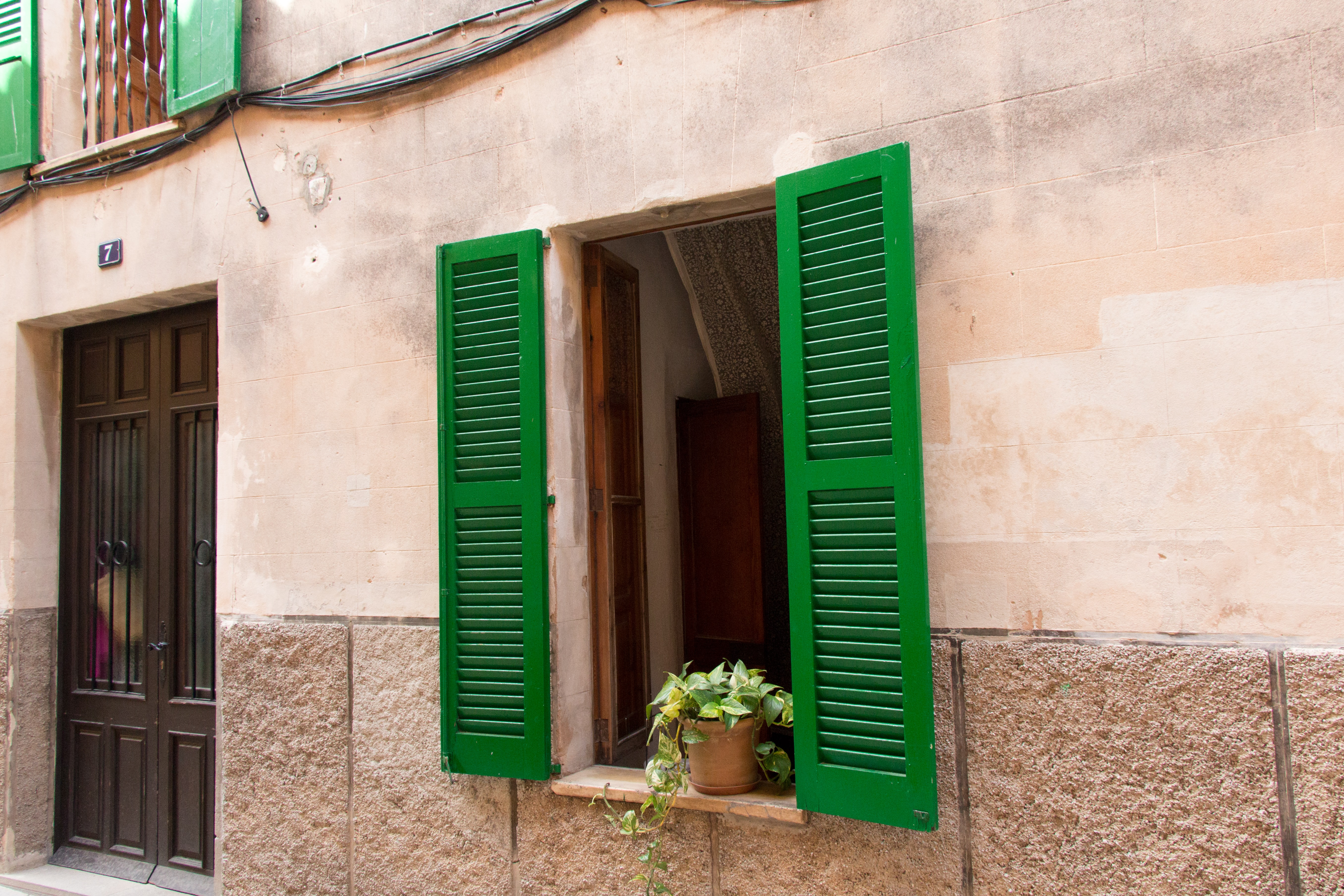 Tan building with green shutters and a potted plant on the windowsill near a brown door