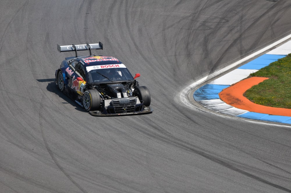 black stock racing car on race track