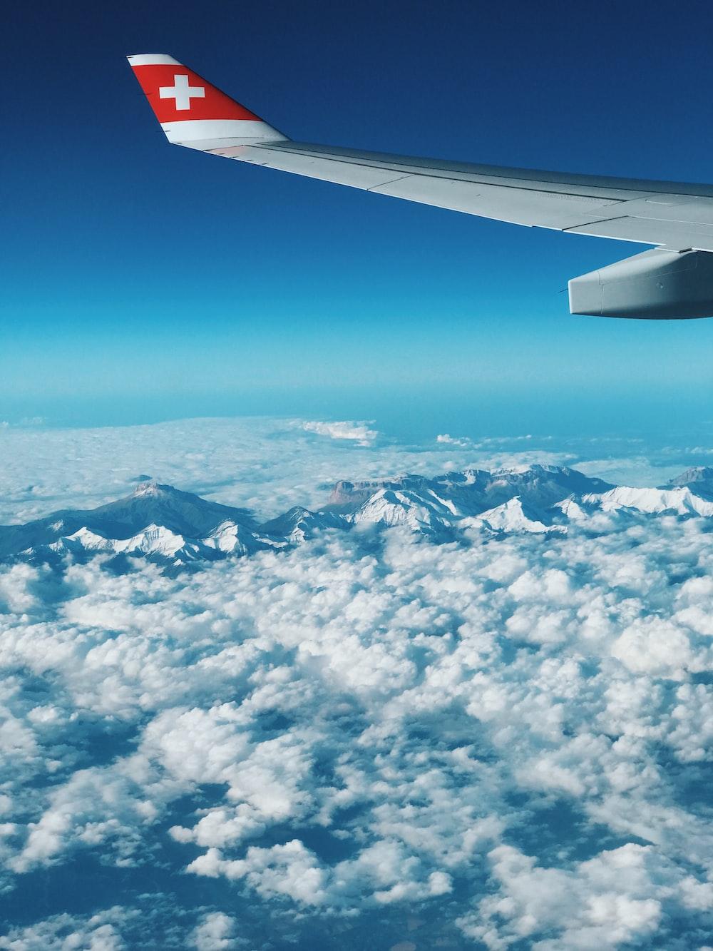 airplane near clouds