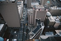 aerial photograph of city buildings