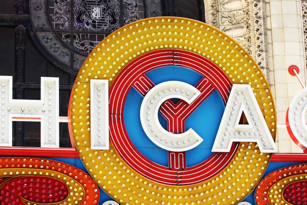 Chicago lighted signage closeup photo