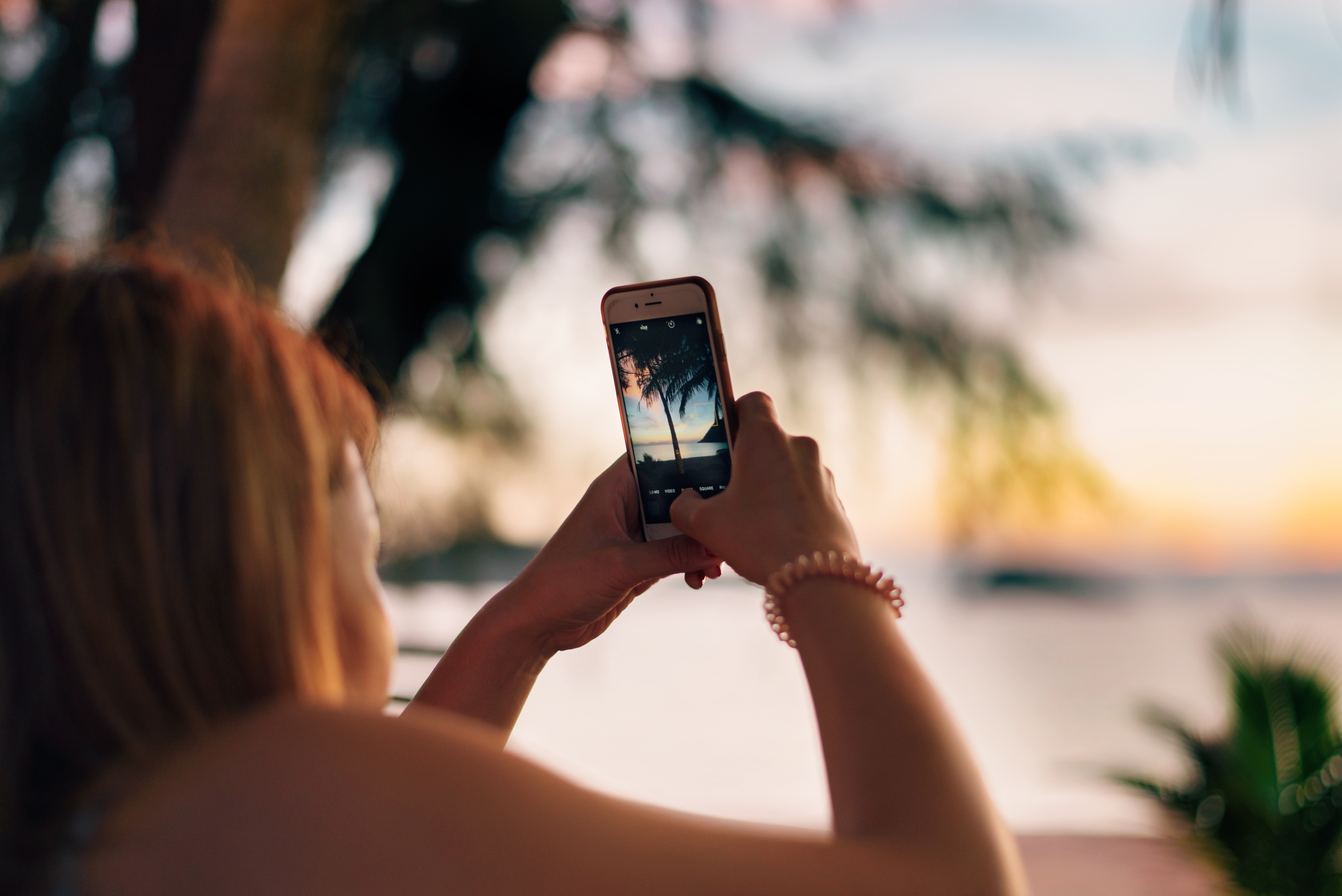 woman taking photo of green tropical tree at beach