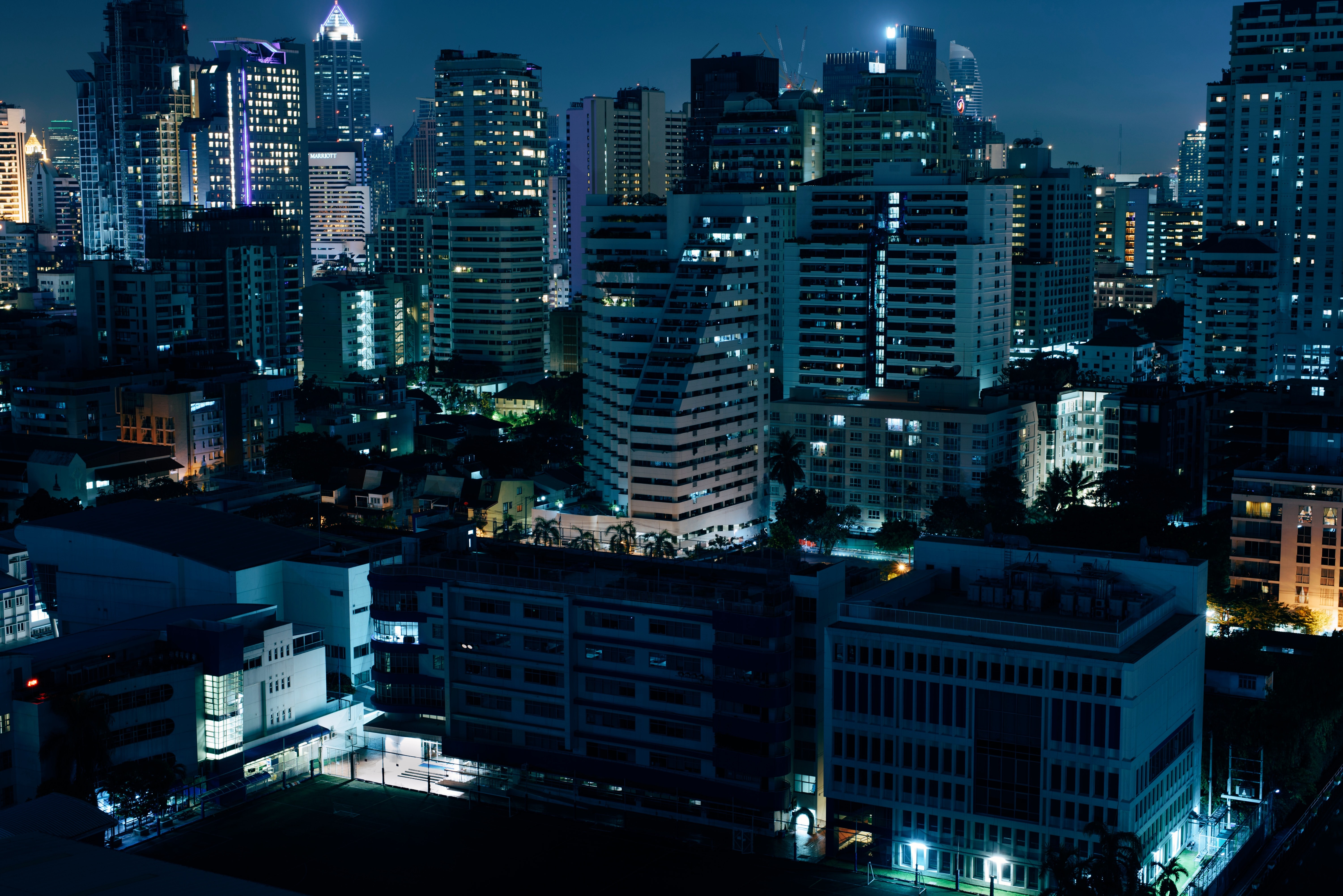 aerial photography of city escape during night