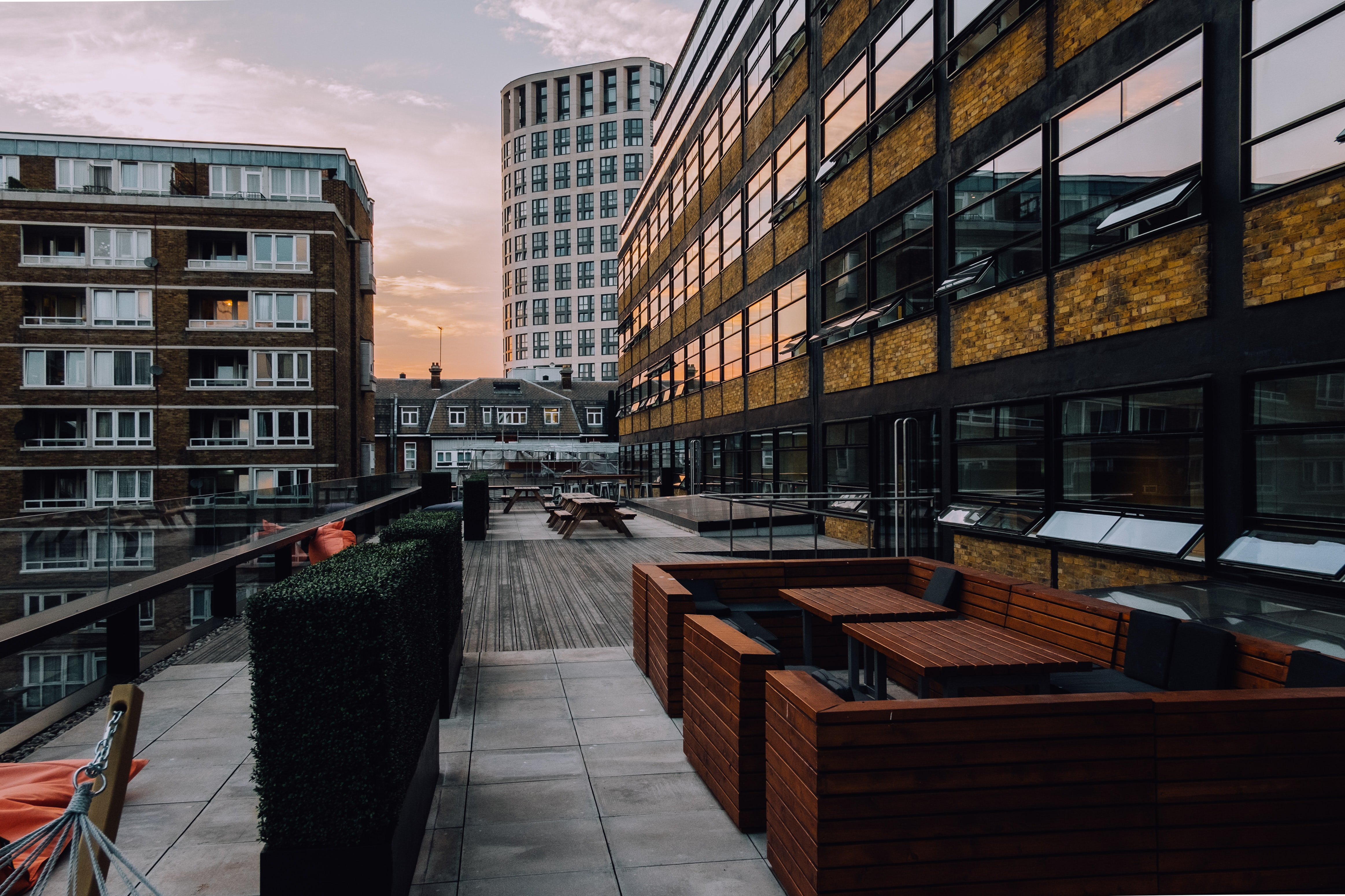 A large patio at an office building in London