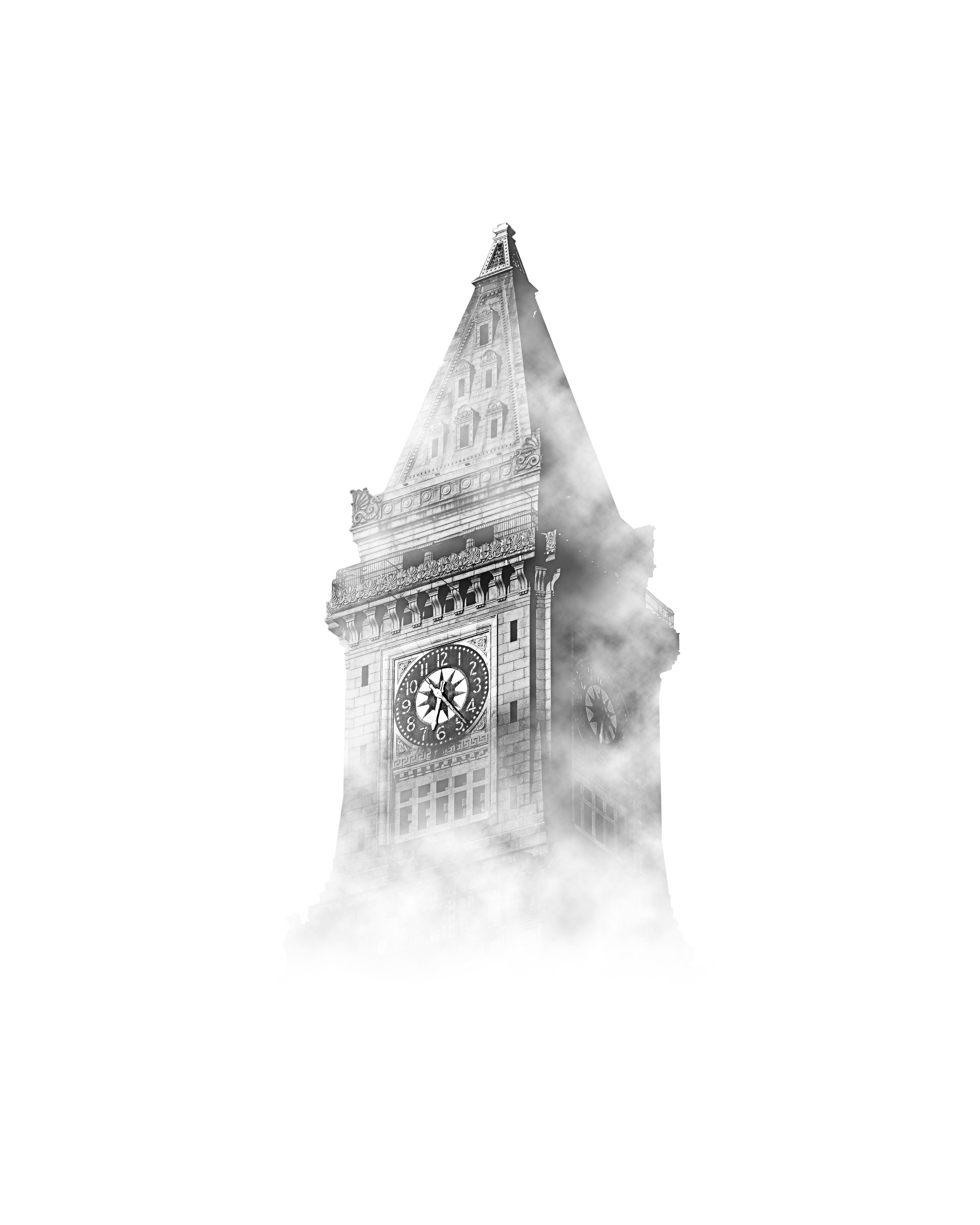 A clock tower shrouded in thick mist