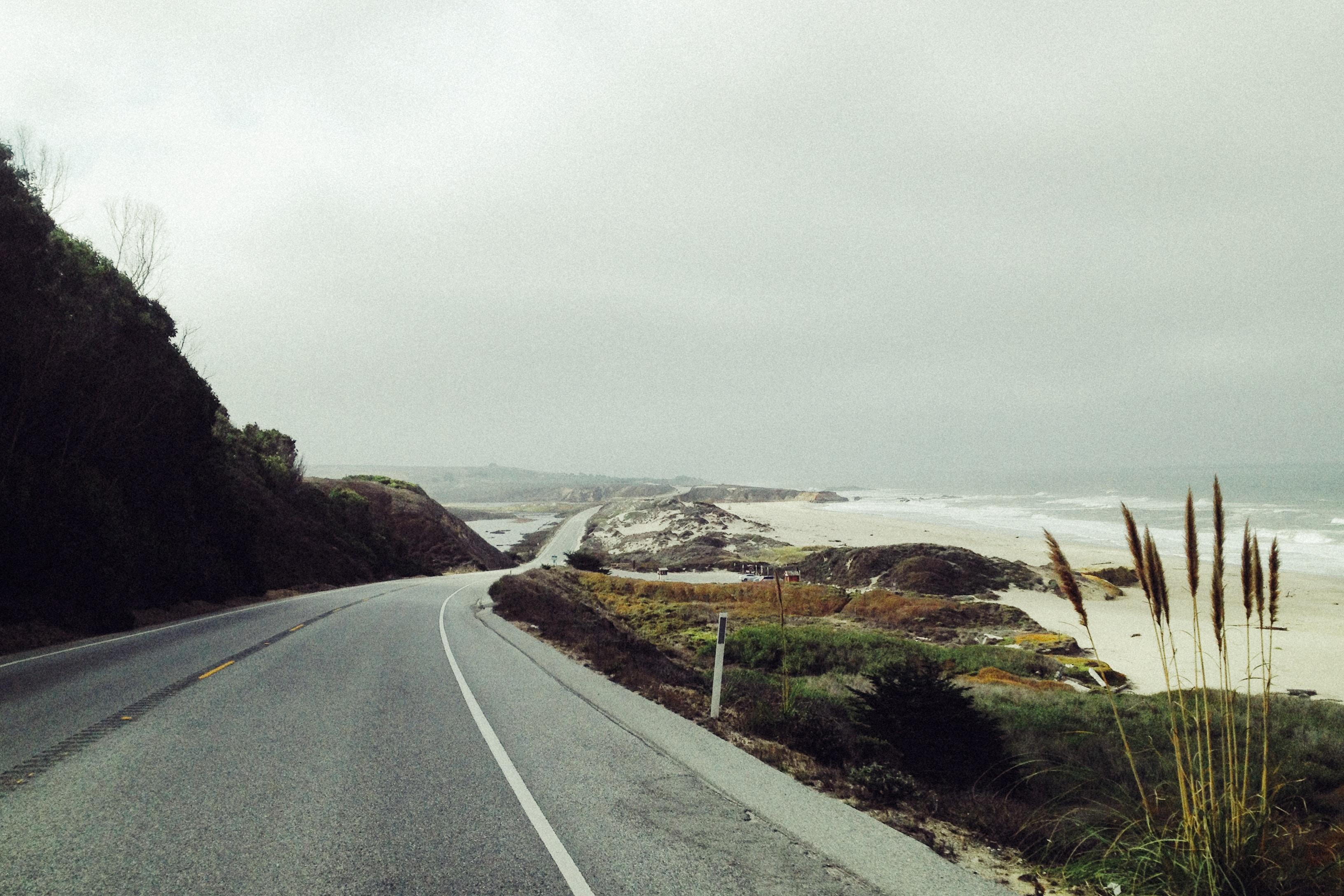 road near seashore
