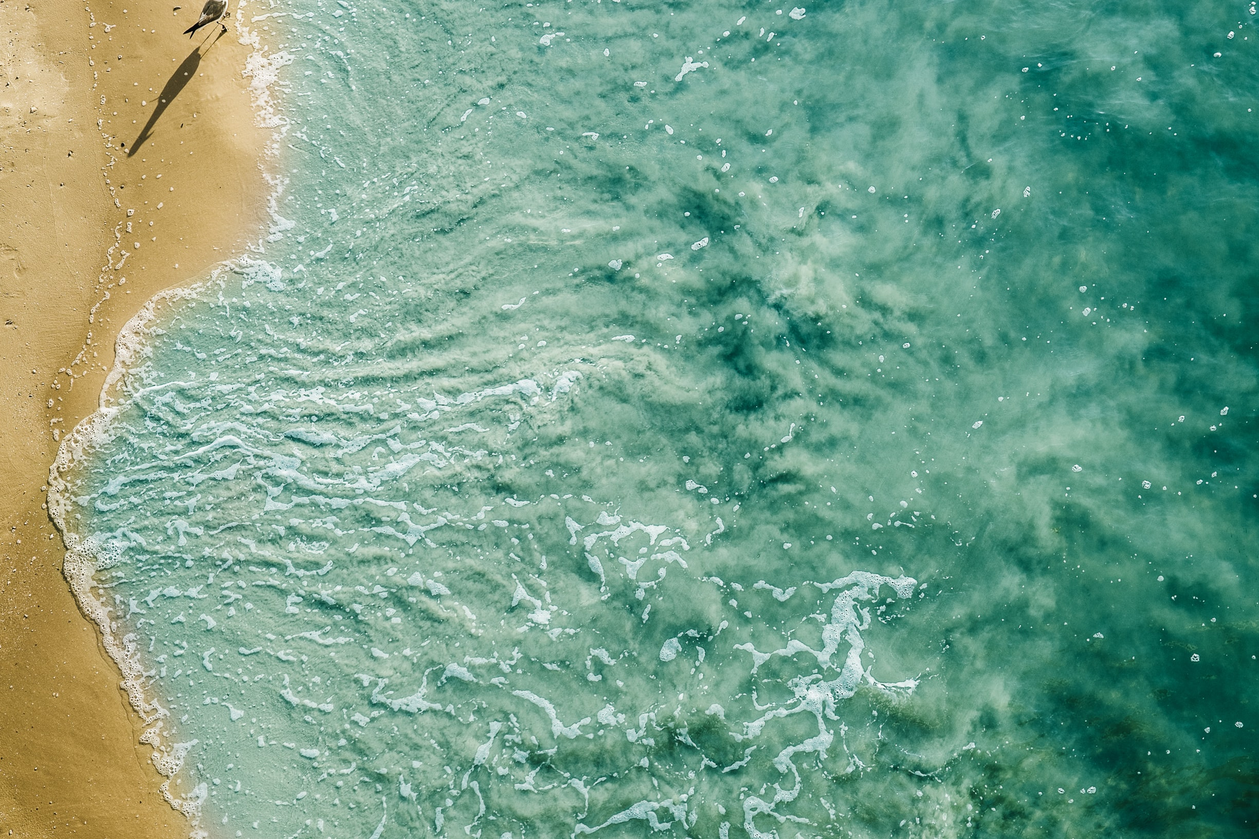 Drone view of ocean washing on the beach sand shore