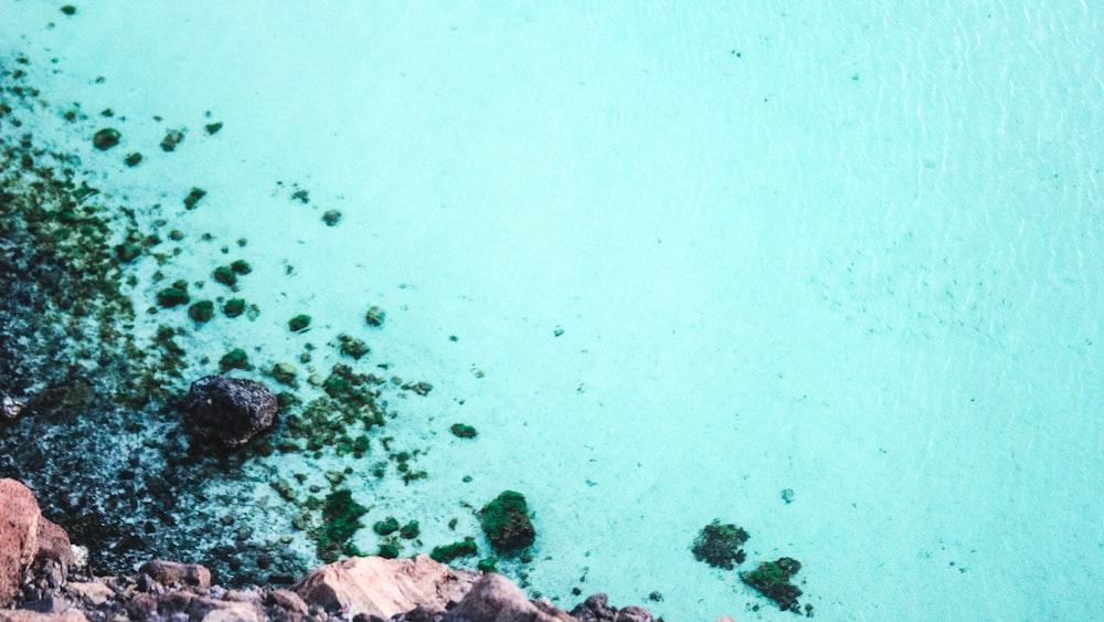 rocky seashore and blue sea