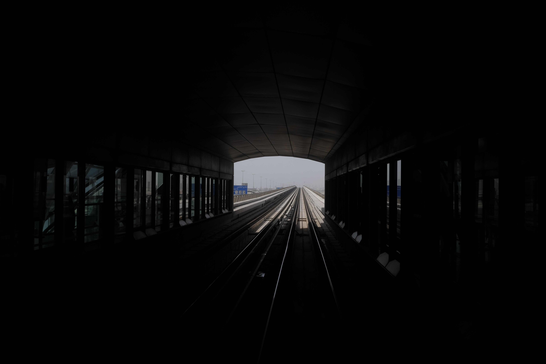 Inside a railroad train tunnel at a train station in Dubai