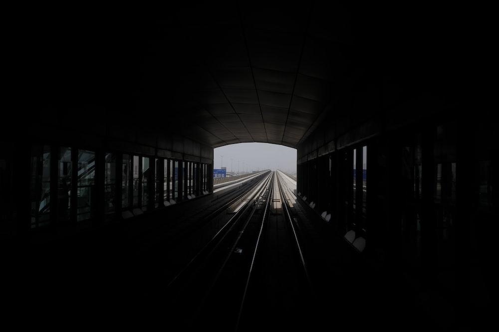 photography of underground subway