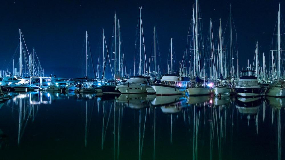 sailboats park on dock