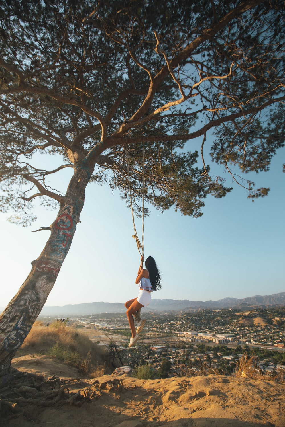 woman swinging on tree