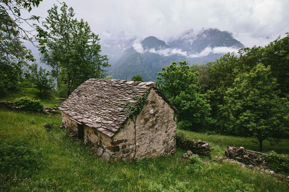 brown cabin beside green grass on hill