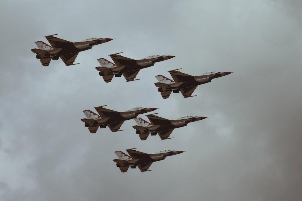six fighter jets