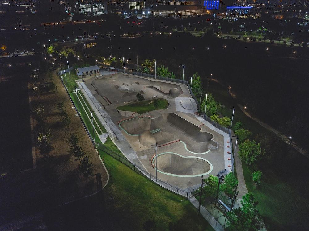 aerial view of skateboard park
