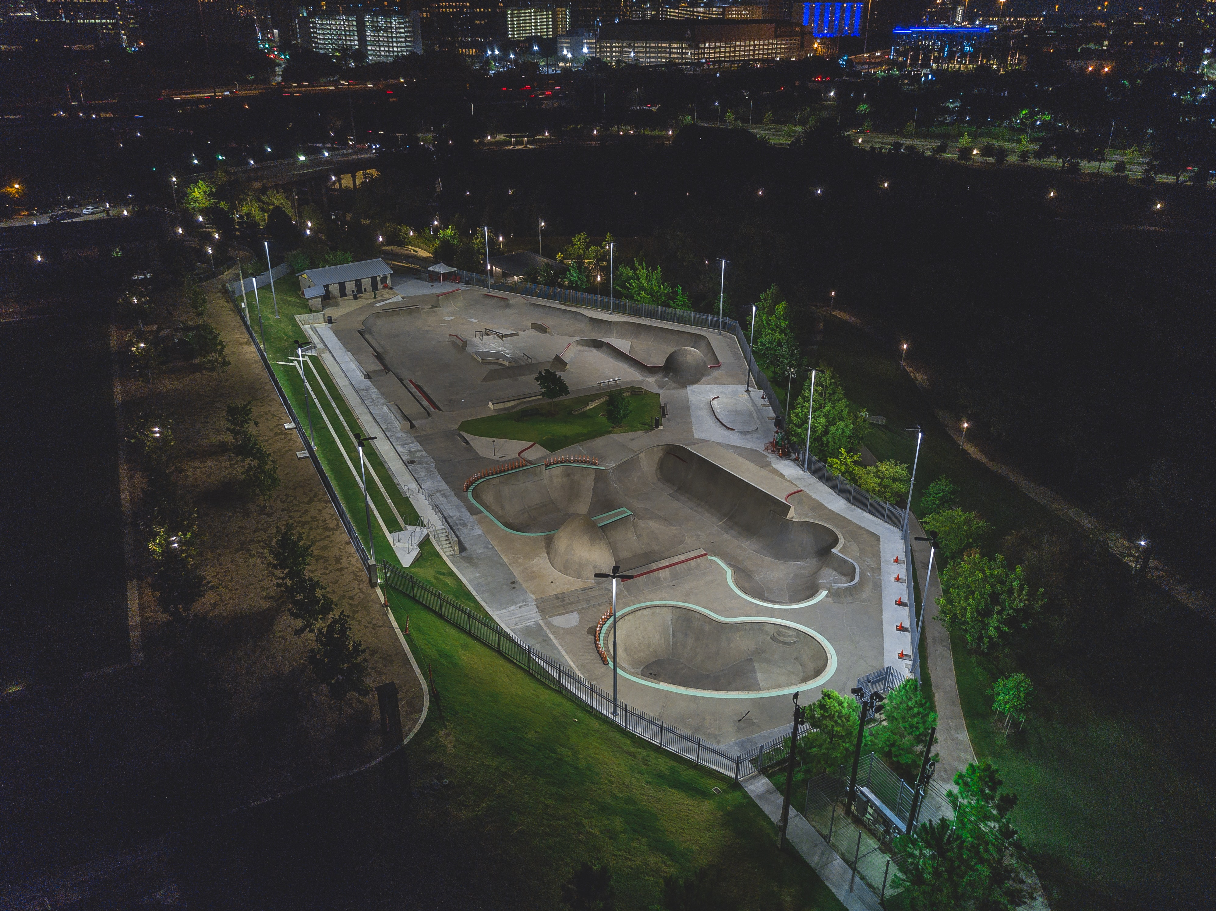 A drone shot of a skate park at night in Washington Ave./ Memorial Park, Houston, Texas, United States