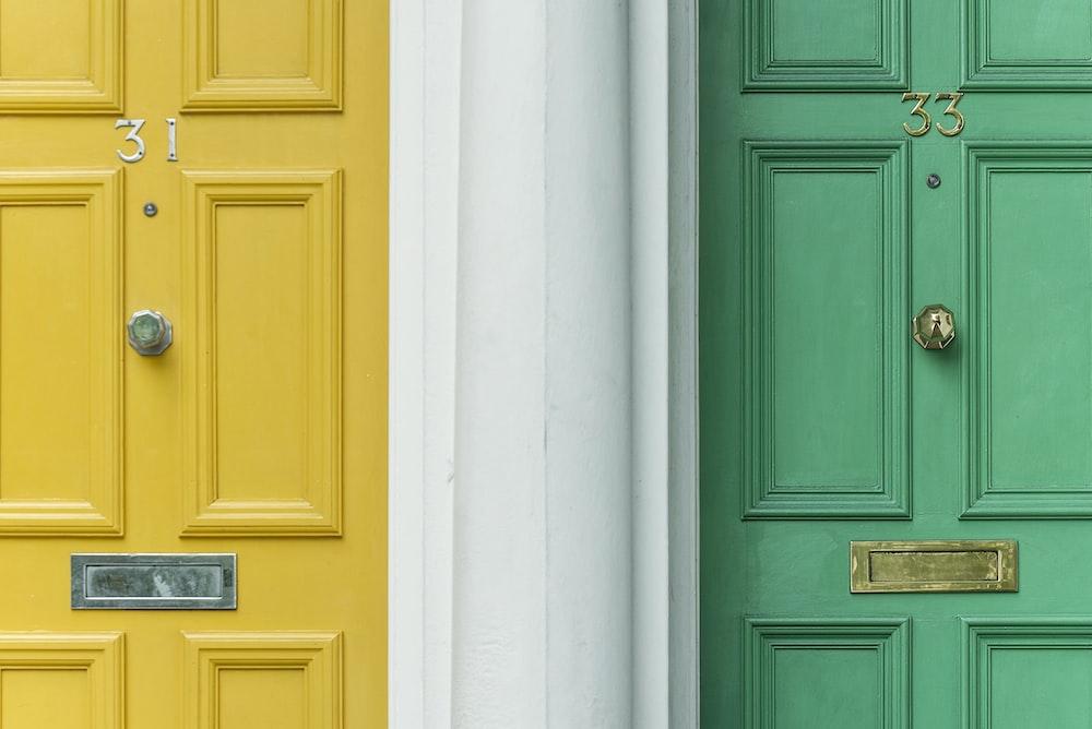green door beside yellow door