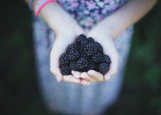 woman holding blue berries taken at daytime