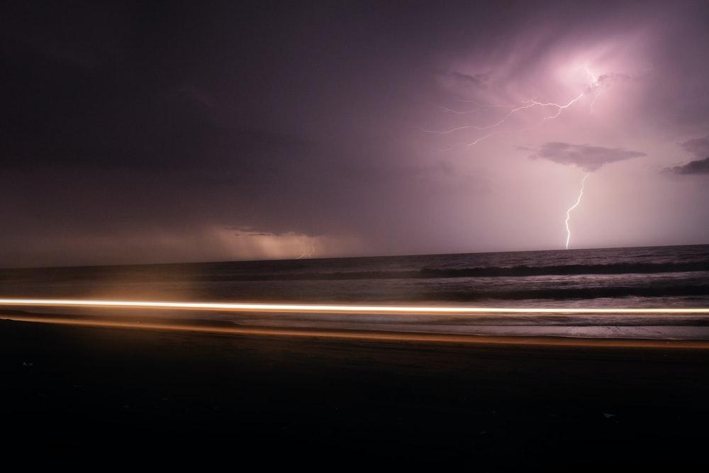 sky struck by lightning photography