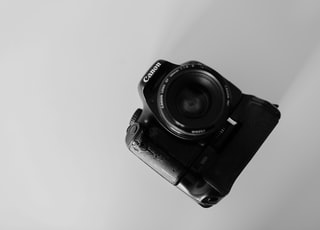 grayscale photography Canon camera