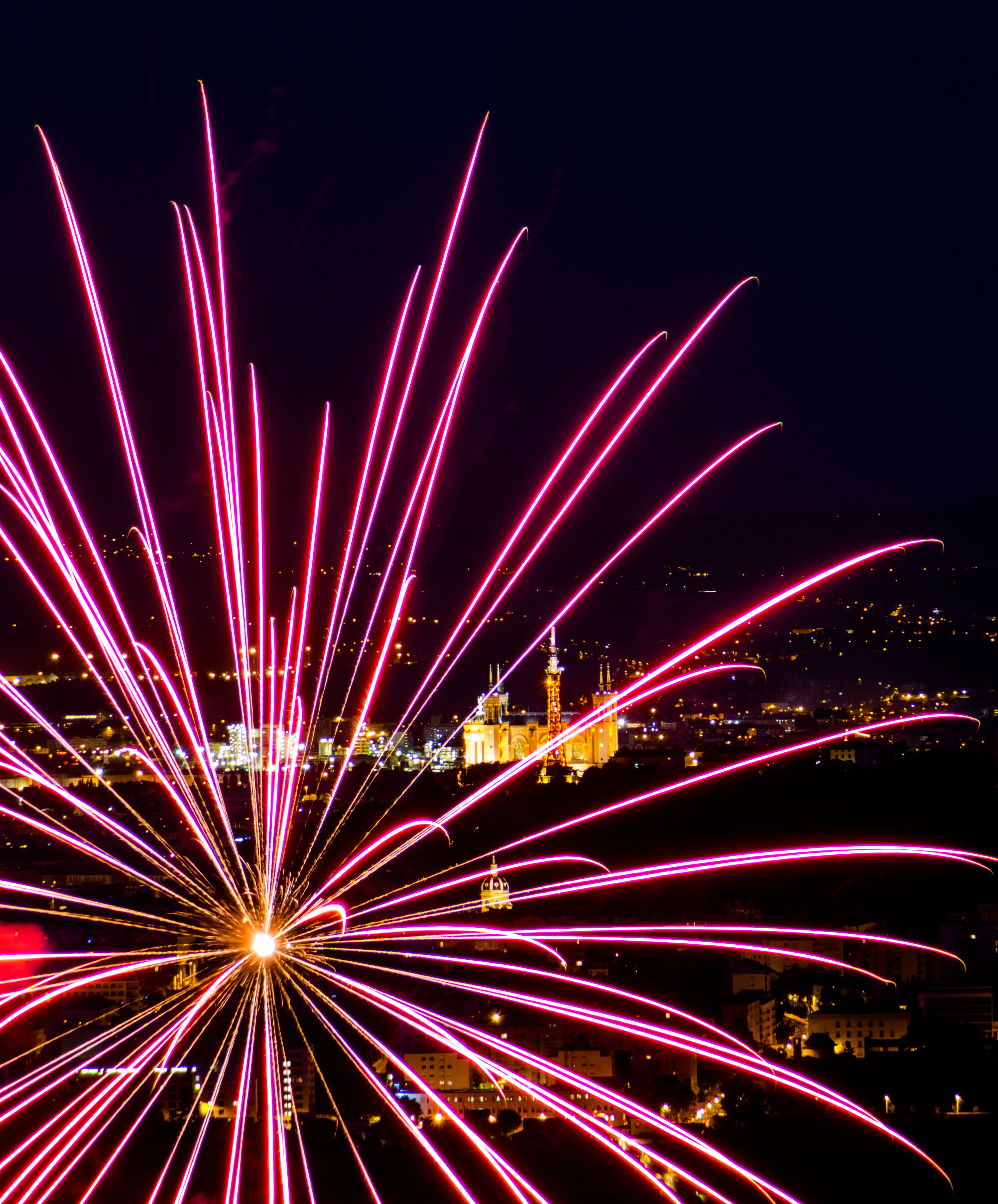 A purple fireworks display in France.