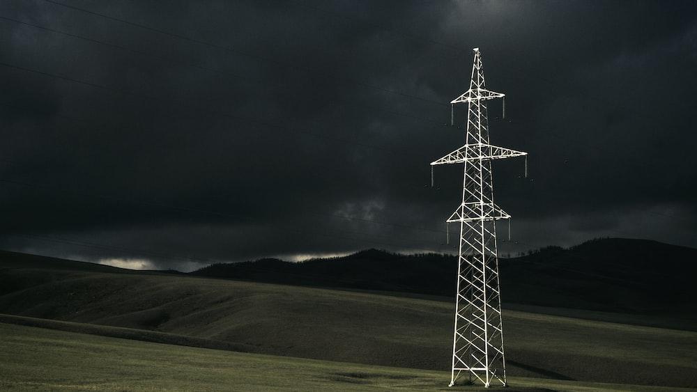 gray power line post