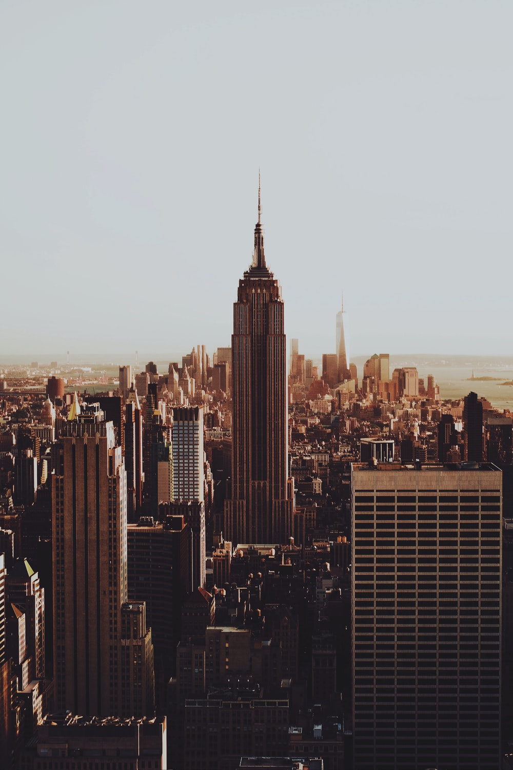 skyline of Empire State Building, New York City in sepia photography