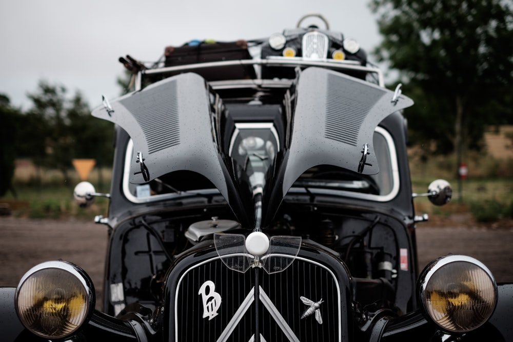 selective focus photography of vintage car