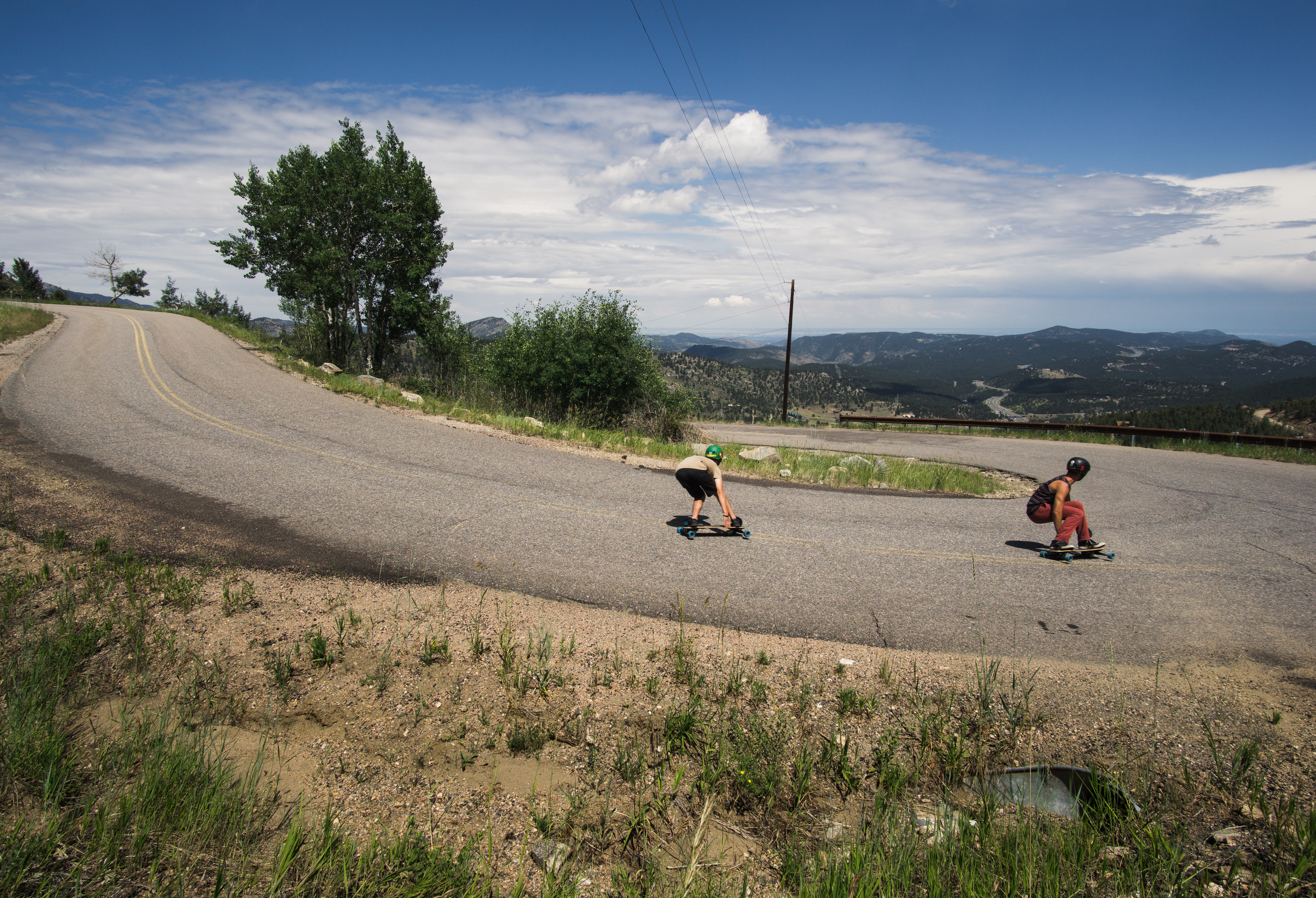 two people on skateboards