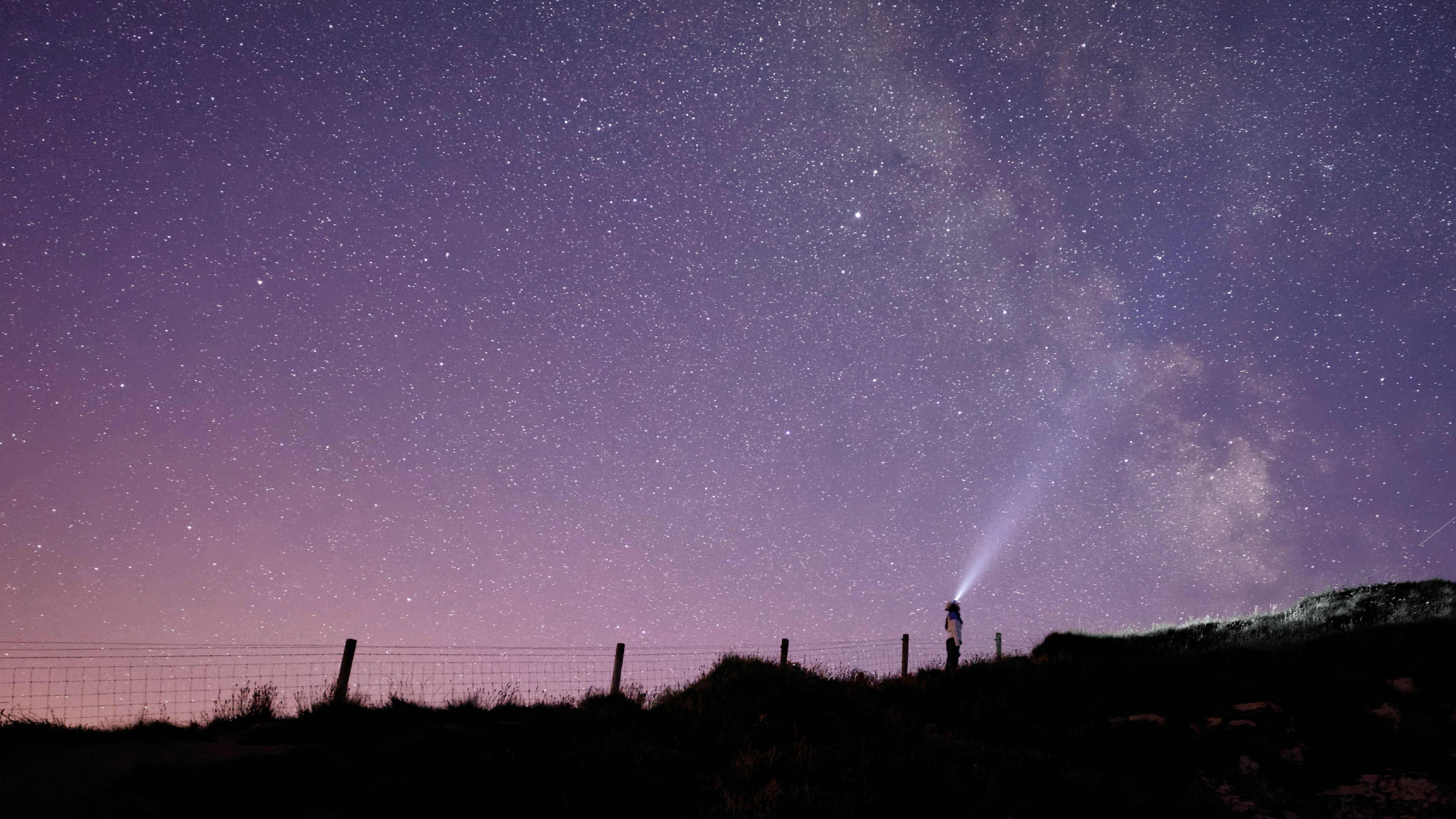 A woman standing in a field at night under a purple sky that shows the milky way at the Cliffs of Moher
