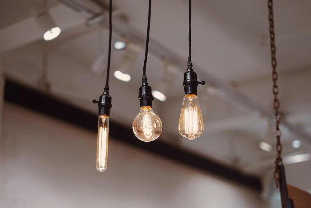 three pendant lights