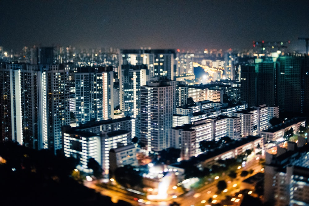 photography of high-rise building at night