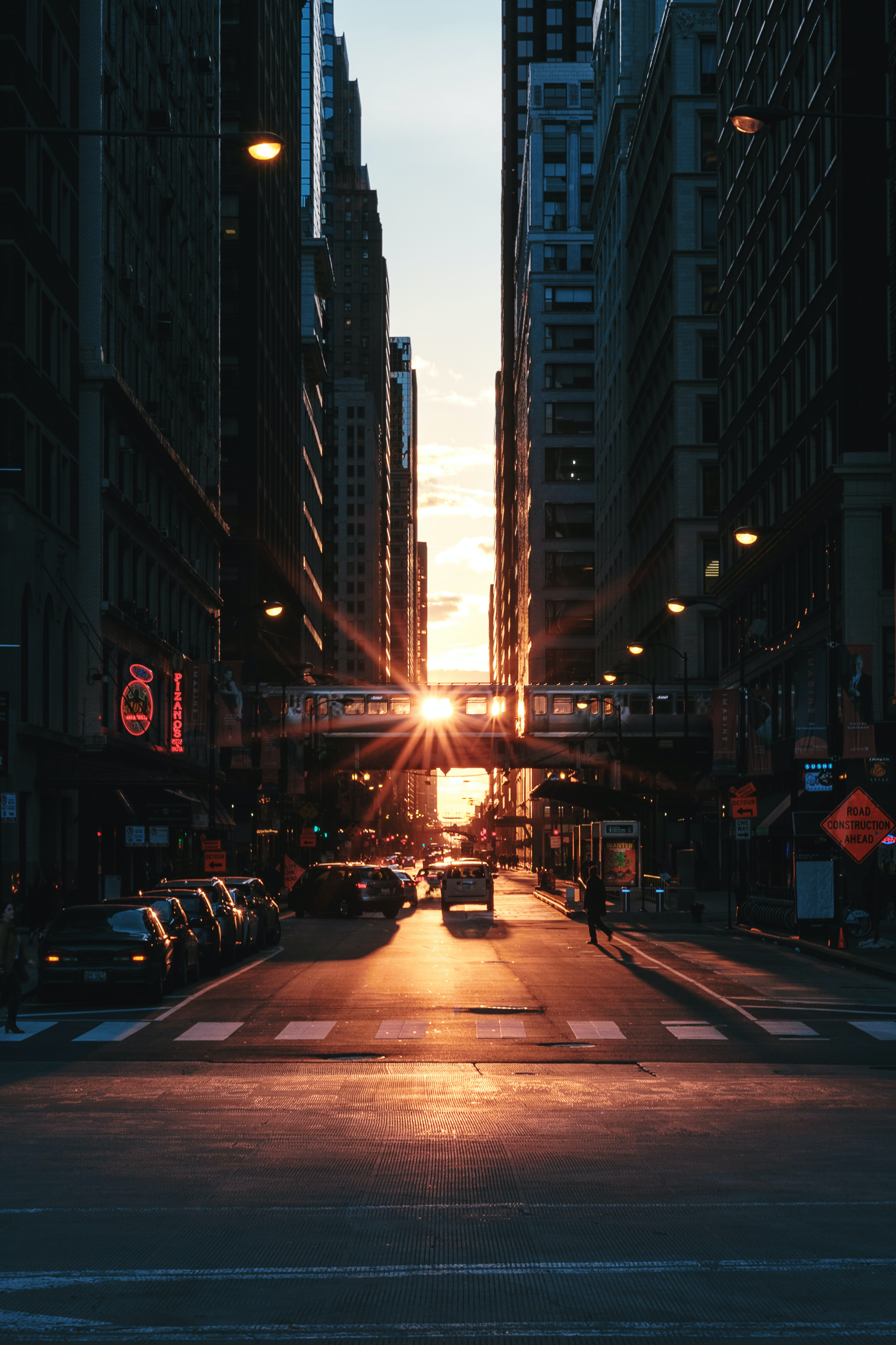 Sunset over a street in downtown Chicago