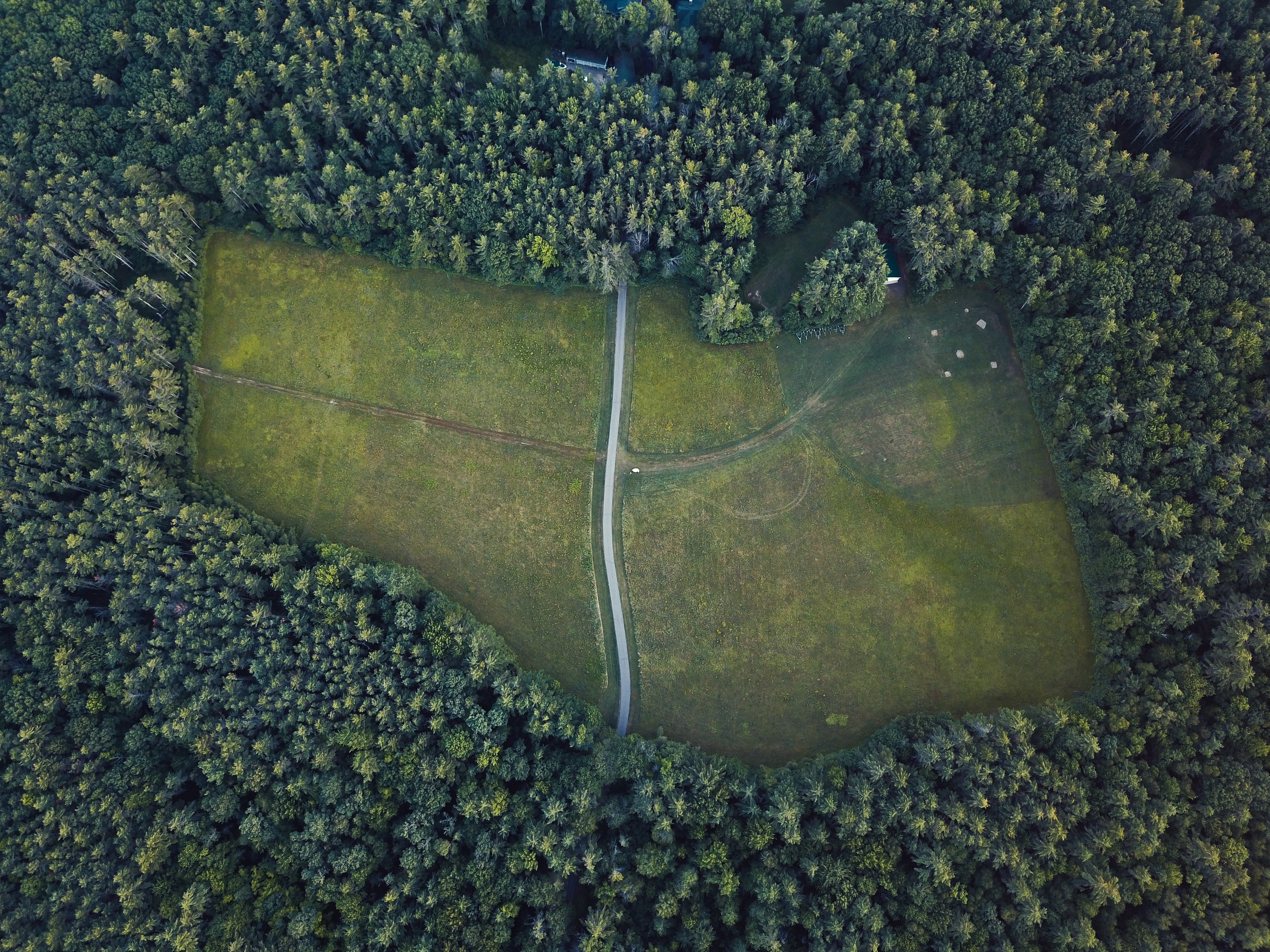 A drone view of a baseball field and soccer field, with a path through them, surrounded by dark green fir trees