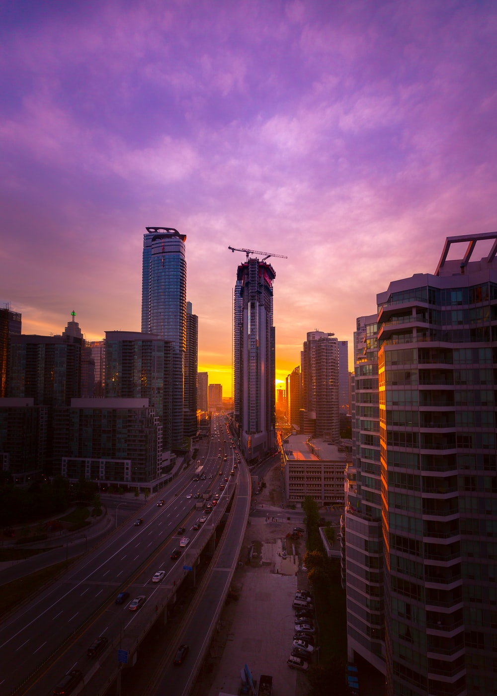 high rise buildings during golden hour