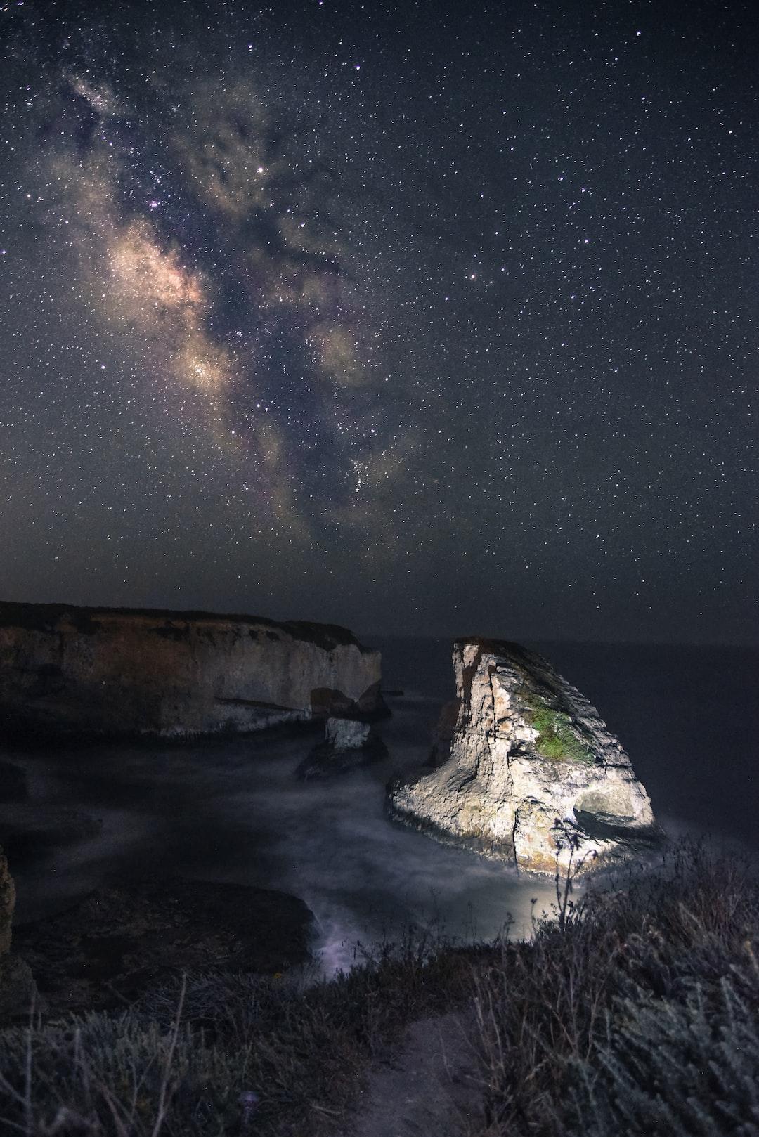 Shark Fin Cove Under the Night Sky
