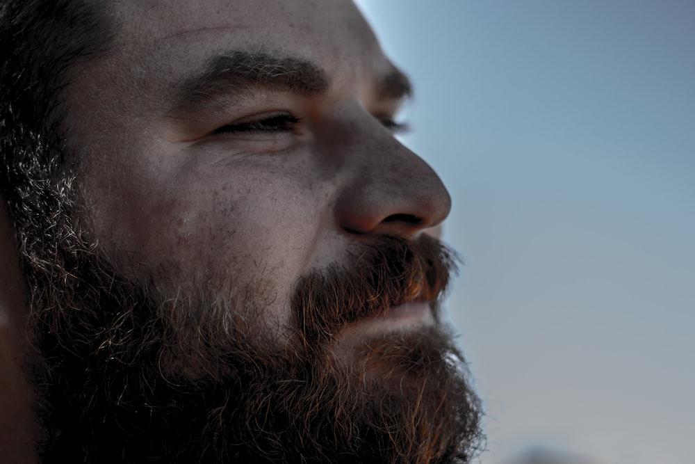 closeup photo of bearded man