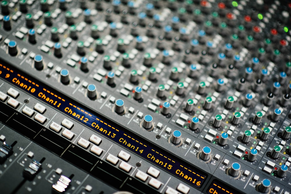 close up photography of mixing console