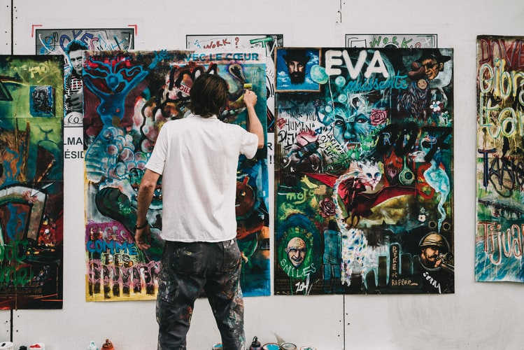 A painter creating art