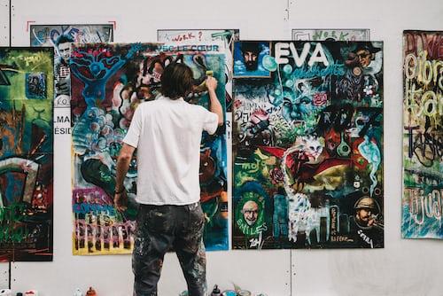image of artist paining