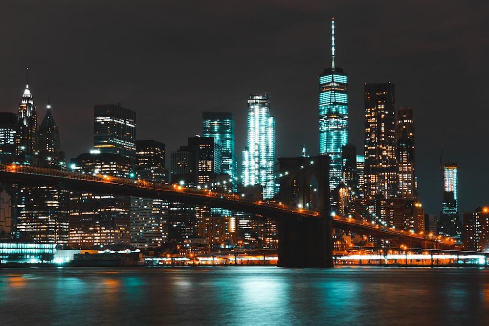 landscape photograph of brooklyn bridge at nighttime