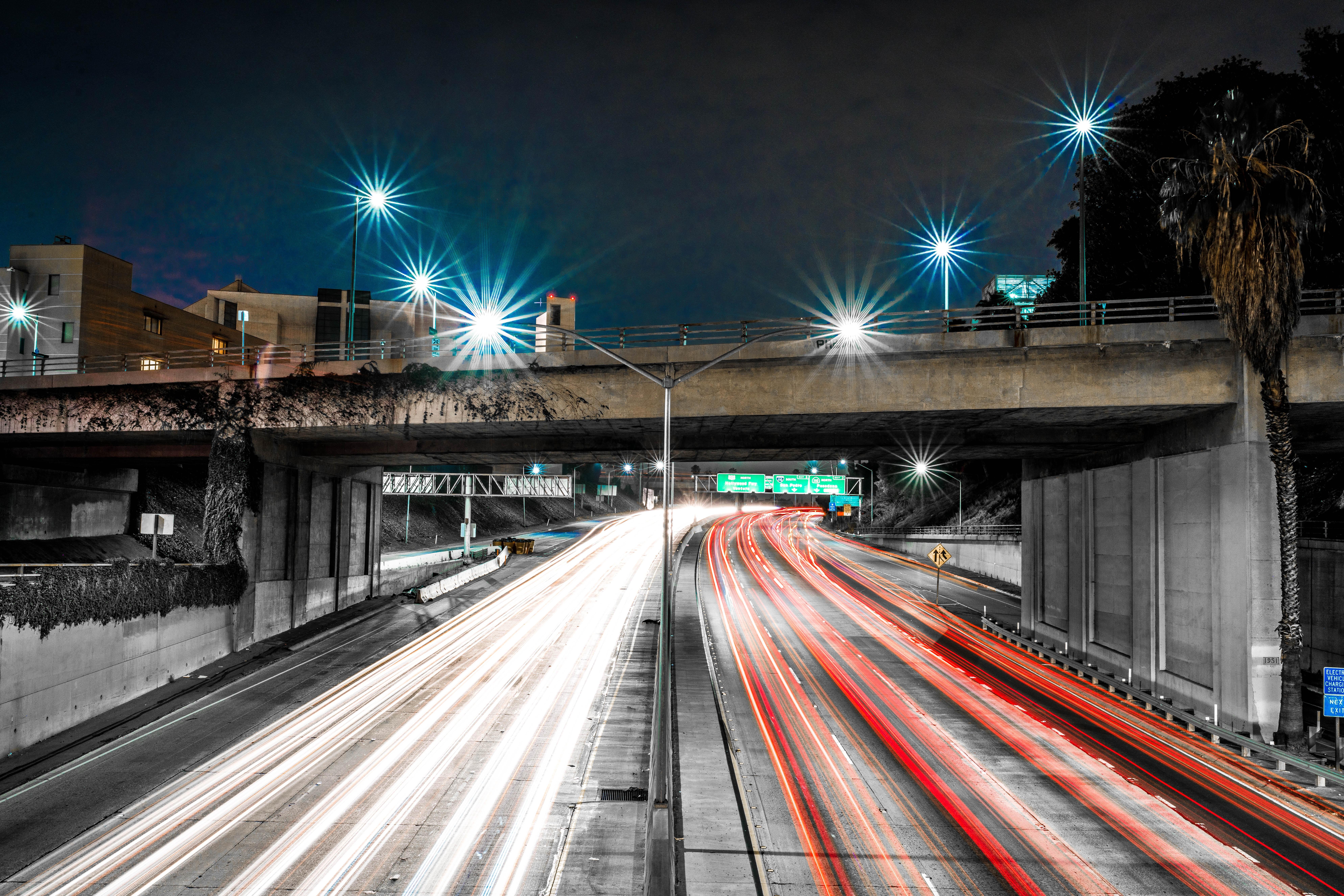 car lights on night time
