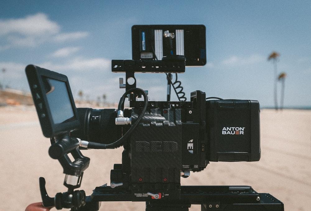 selective focus photography of Anton Bauer video camera