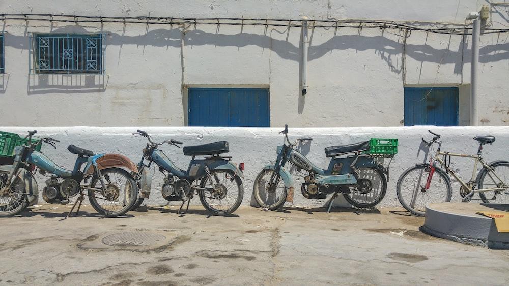 motorcycles parking on concrete floor