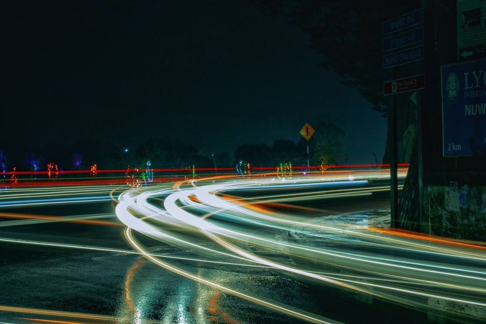 time lapse of cars on night time
