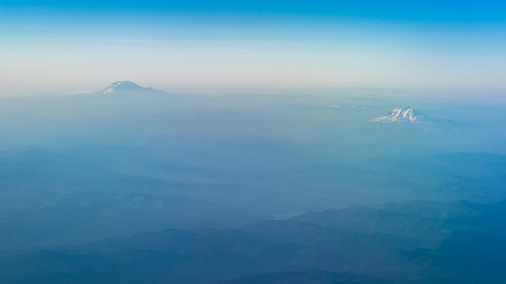 bird's eye view of mountain tip