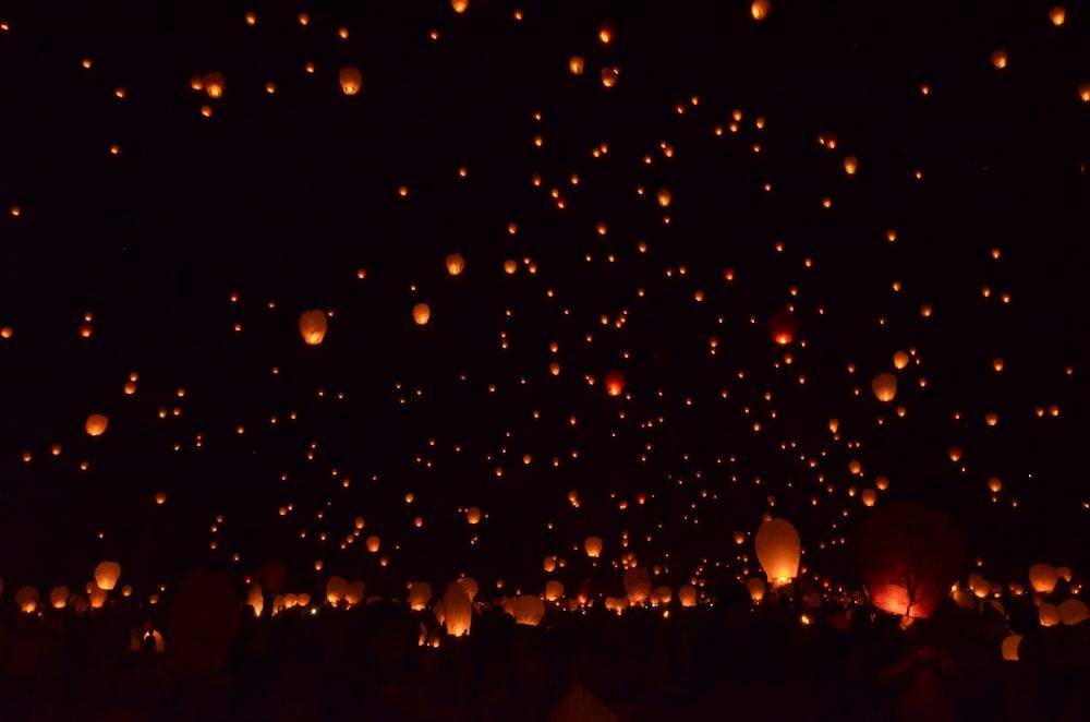 paper lantern flying above sky