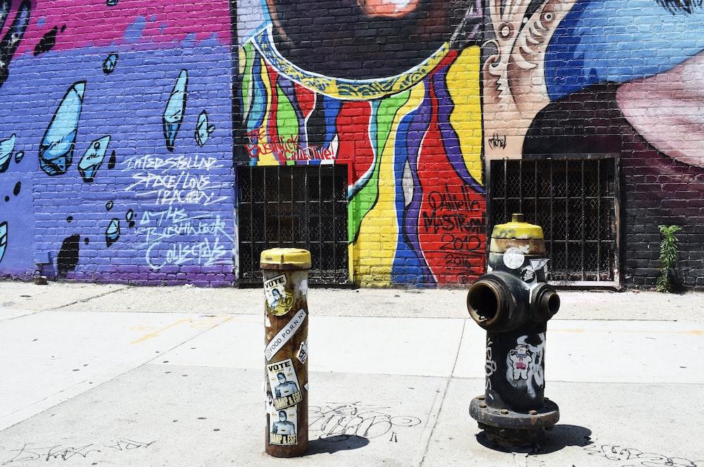 black fire hydrant near graffiti wall